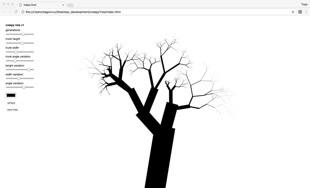 screenshot of the Creepy Tree app